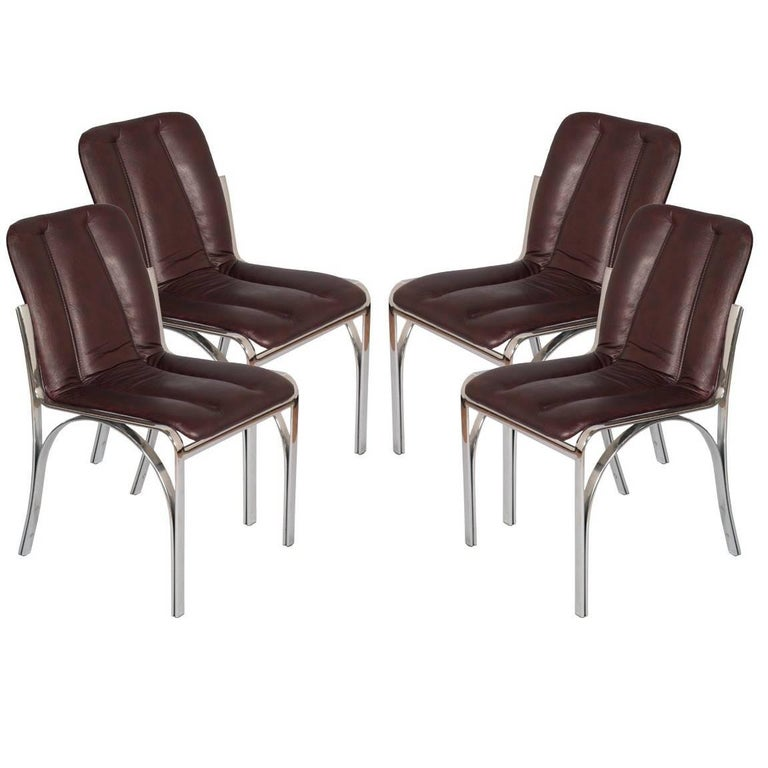 Italian 1970s Chairs Chromed Steel and Soft Leather  Gastone Rinaldi Manner For Sale