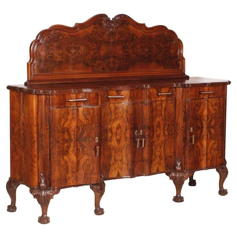 Early 20th Century Chippendale Venetian Baroque Credenza Sideboard Walnut