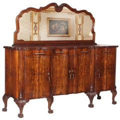 Early 20th Century Chippendale Venetian Baroque Mirrored Credenza Sideboard