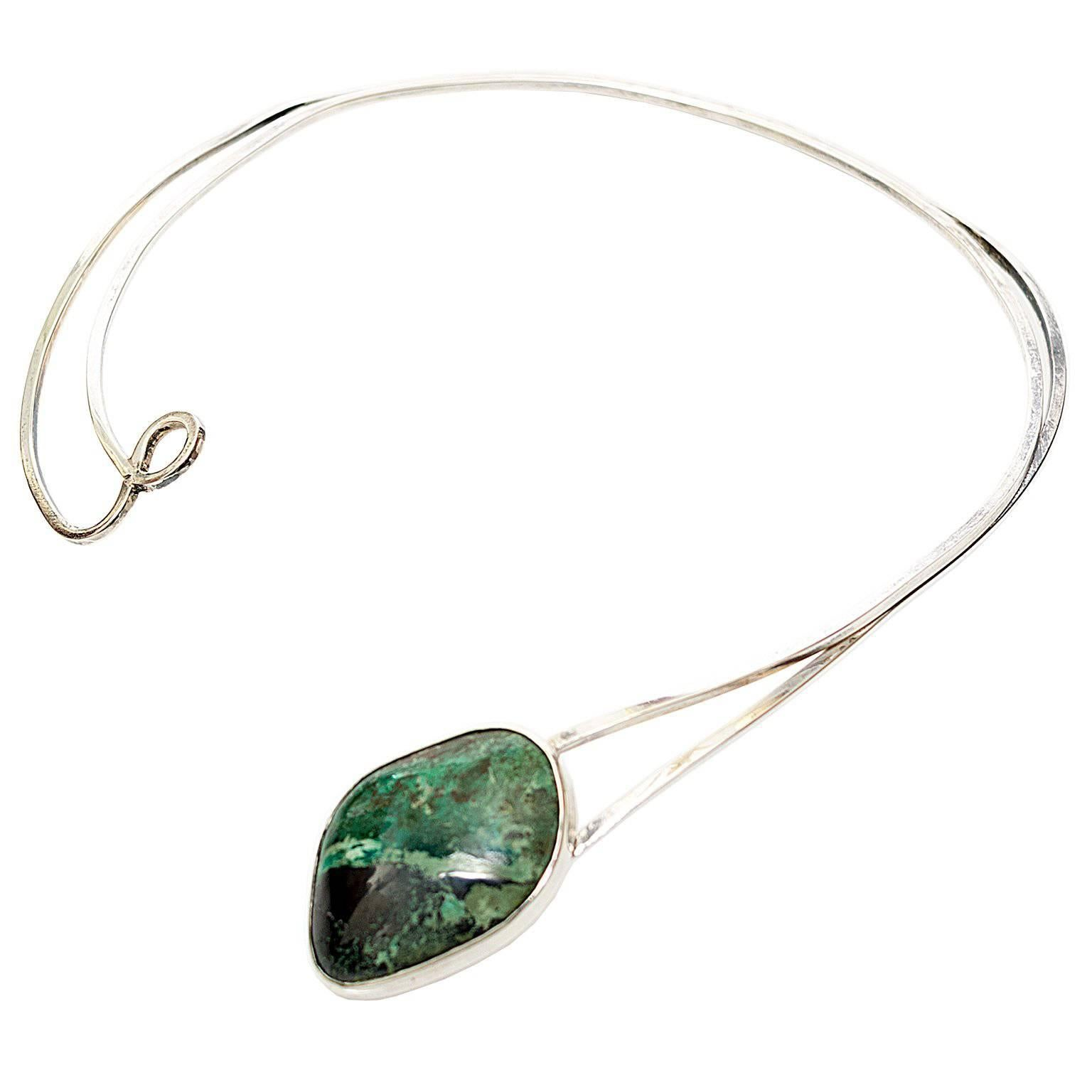 Scandinavian Modern Sterling Silver Necklace by Issac Cohen with Green Stone