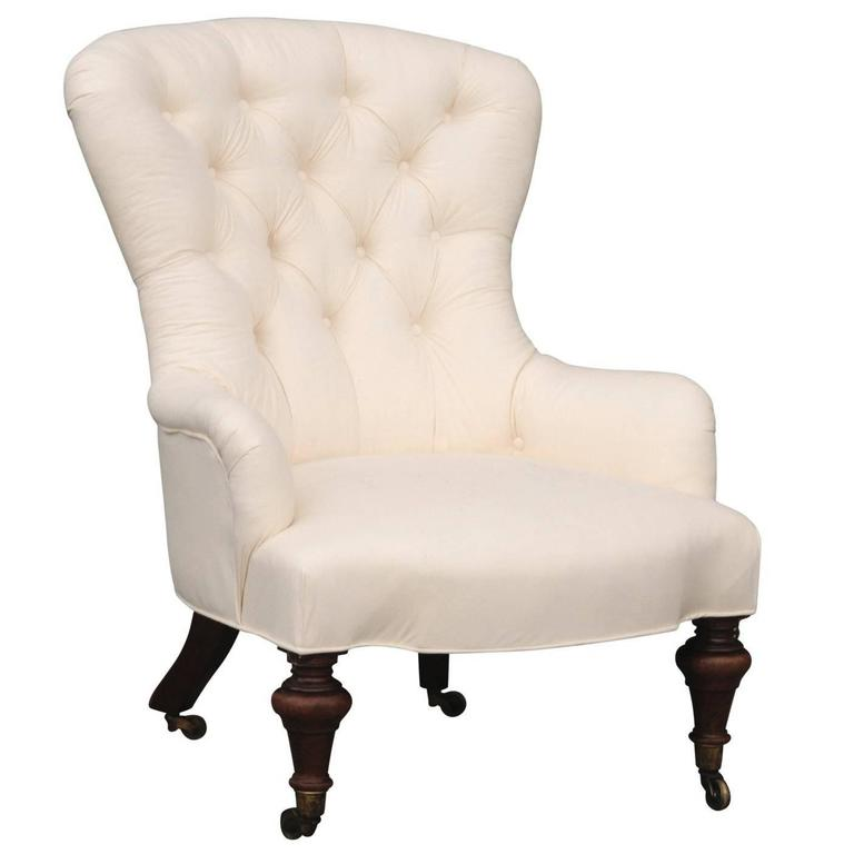 English William IV Style Tufted Fanback Slipper Chair from the Late 19th Century