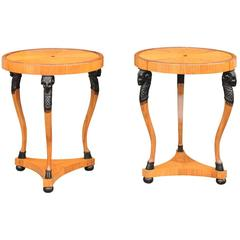 Pair of Austrian Round Biedermeier Side Tables with Ram's Heads, 19th Century