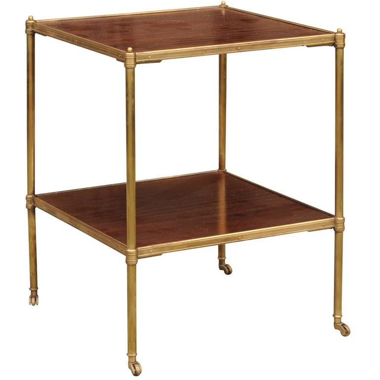 Superieur English Mid 20th Century Two Tiered Brass And Mahogany Side Table On  Casters For