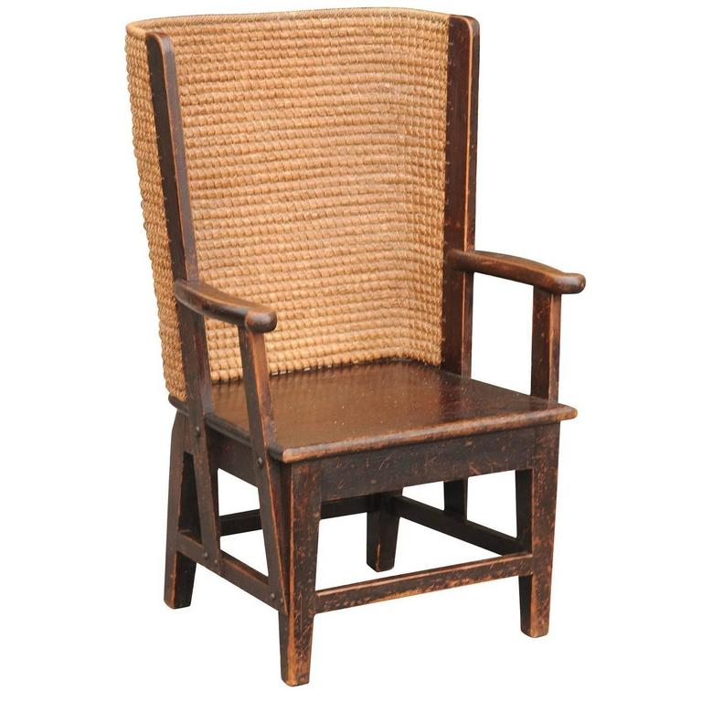Bon Antique Scottish Mid 19th Century Orkney Chair With Handwoven Straw Back  For Sale
