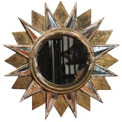 French Vintage Sunburst Mirror with Glass and Giltwood Sunrays