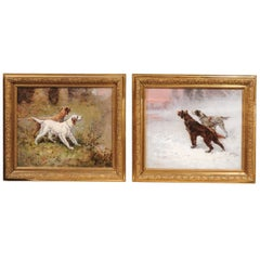 Pair of French Early 20th Century Oil Paintings of Sporting Dogs by G. Ben