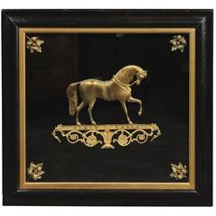 English 19th Century Brass Black Eagle Prancing Horse in Custom Shadowbox Frame