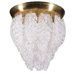 1960 Italy Barovier & Toso 'Graniglia' Flush Mount Murano Glass Leaves & Brass