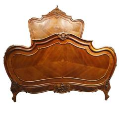 Antique French Rococo Style Carved Mahogany and Kingwood Full Bed Frame