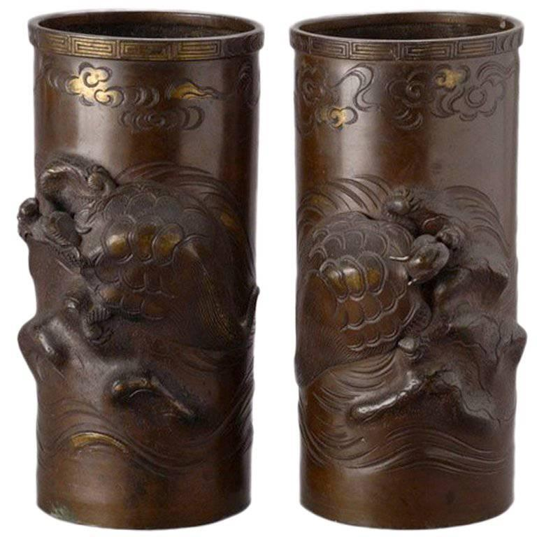 Pair of Meiji Cylindrical Cast Bronze Vases