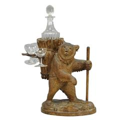 Wooden Carved Bear Decanter Stand Swiss Brienz, 1900