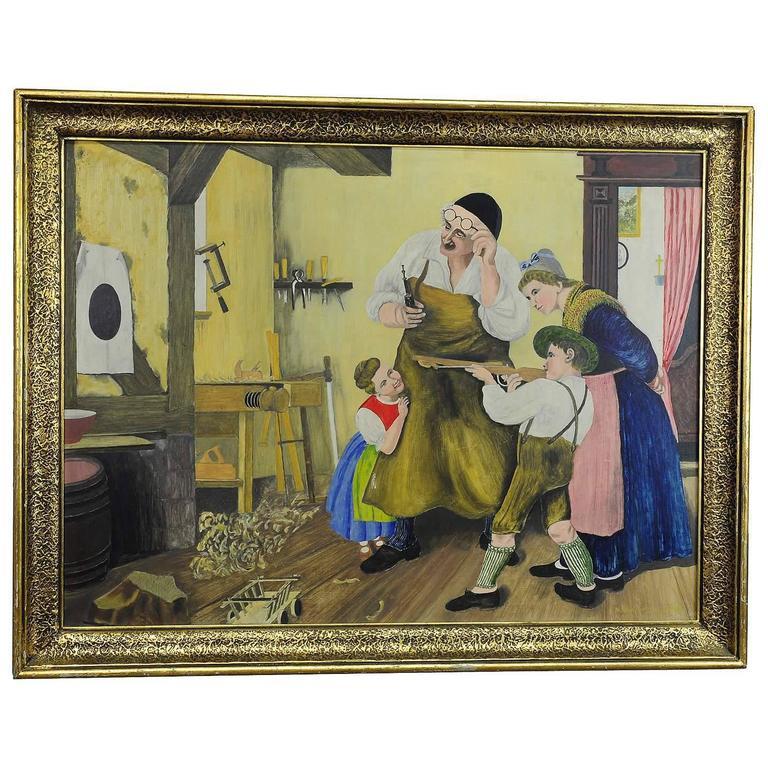Vintage Oil Painting, Bavarian Folksy Scene in Joinery