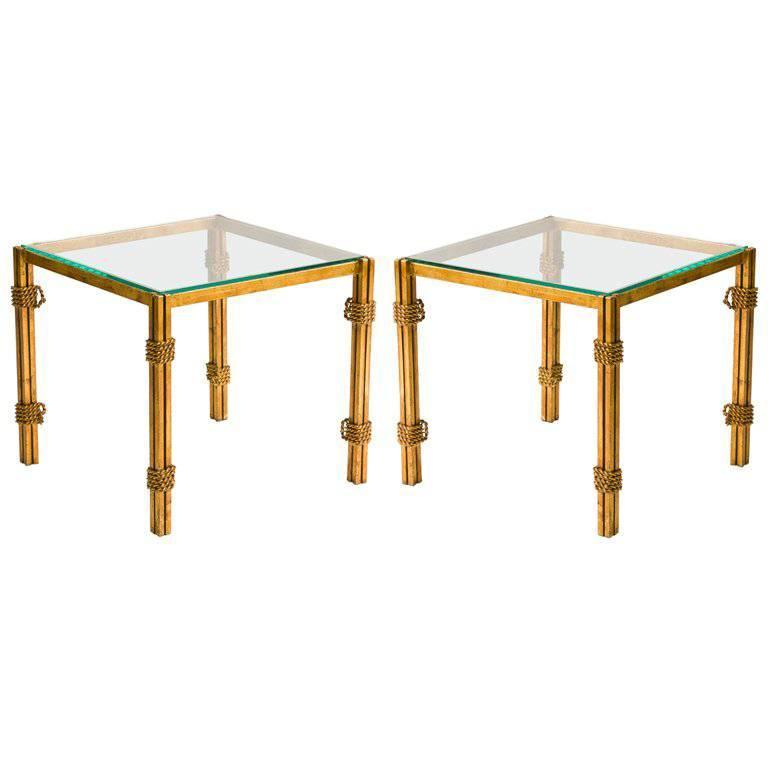 Pair of French Gilt Metal and Glass Side Tables