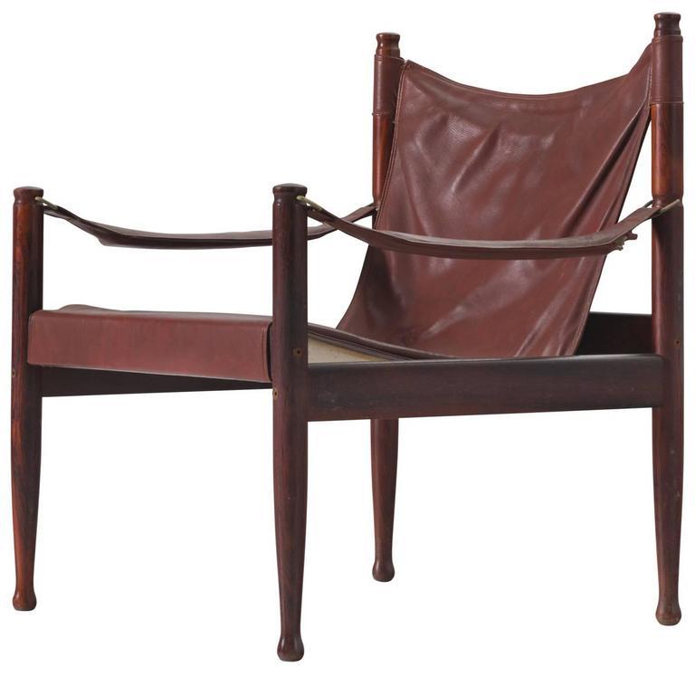 Erik Wørts Safari Lounge Chairs in Rosewood and Brown Leather