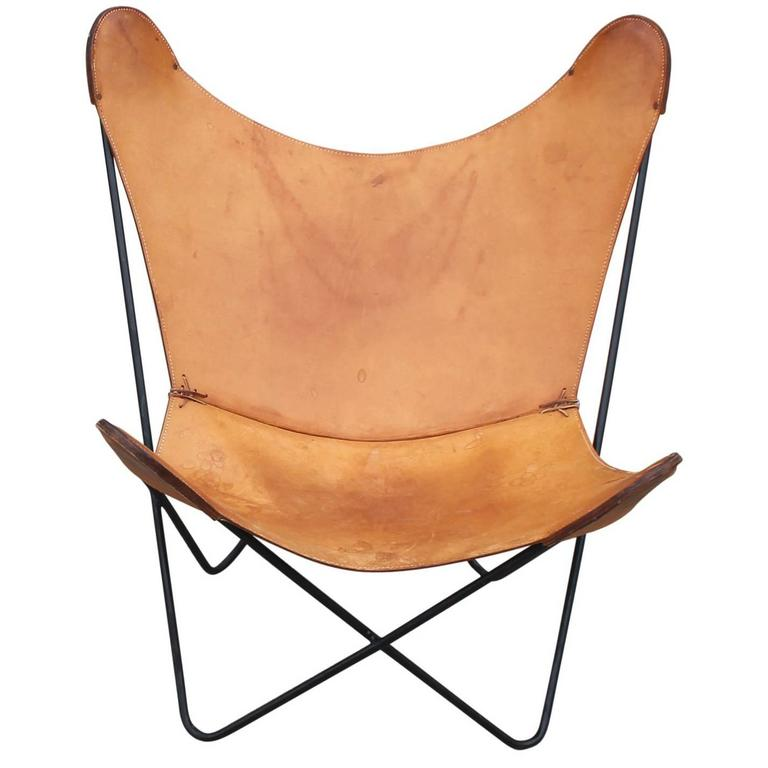 modern knoll light brown leather butterfly chair with iron frame at 1stdibs. Black Bedroom Furniture Sets. Home Design Ideas