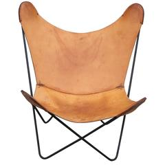 Modern Knoll Light Brown Leather Butterfly Chair with Iron Frame