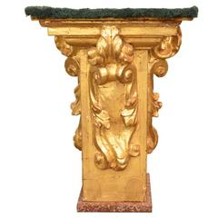 18th Century Gold Gilt Hand-Carved Wall Shelf/Wall Sconce