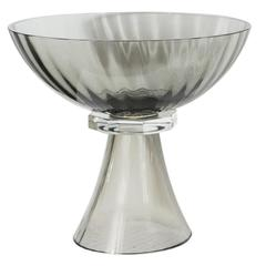 Murano Glass Modernist Bowl or Vase in Handblown Smoked Glass