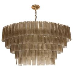 Mid-Century Murano Oval Five-Tier Chandelier