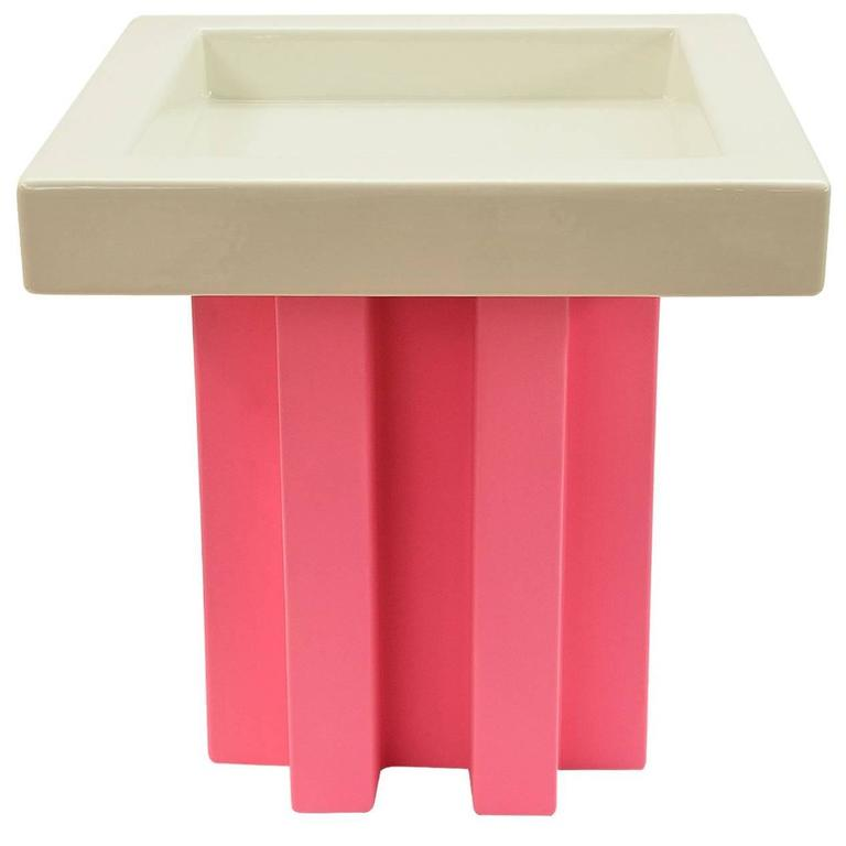 White and Pink Fruit Tray by Ettore Sottsass 1