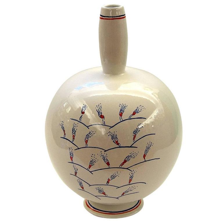 White Round Vase by Ugo La Pietra