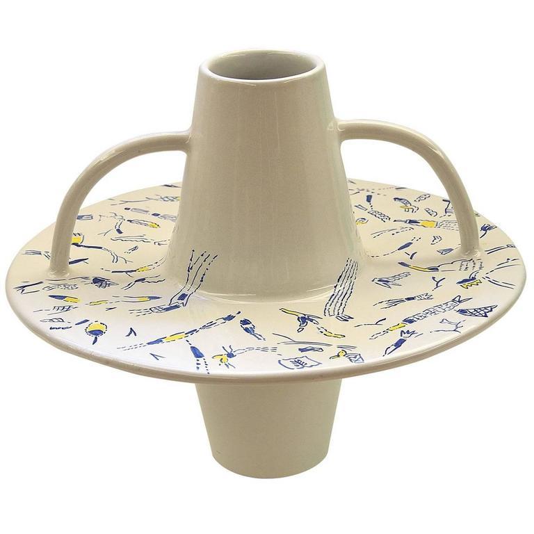 White Vase with Handles by Ugo La Pietra