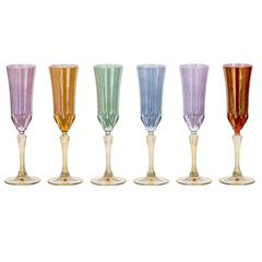 Set of six Stunning Transparent Champagne Chalices