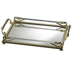 Small Mirrored Clear and Gold Tray