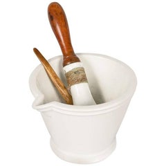 French Apothecary Ceramic Mortar with Pestle, Late 1800s