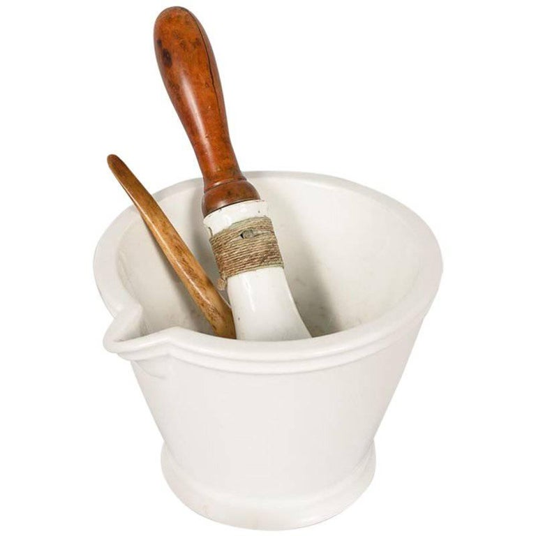 French Apothecary Ceramic Mortar with Pestle, Late 1800s For Sale