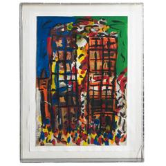 Peter Keil, 'New York, The Twin Towers' Mixed-Media, Signed and Dated