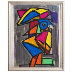 Peter Robert Keil, 'Abstract Face', Oil on Board, Signed and Dated