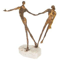 Emanuele Scarnicci Abstract Bronze Sculpture with Two Dancers, Signed