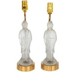 Pair of 1920s Figural Satin Glass Quan Yin Lamps