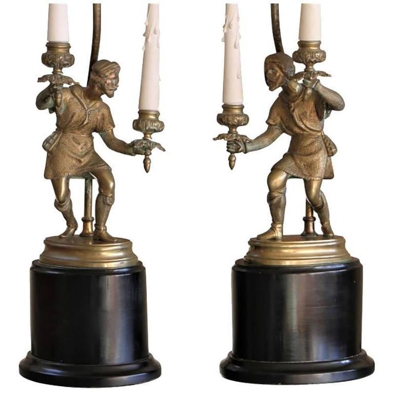 Pair of Finely Cast Renaissance Revival Figural Lamps