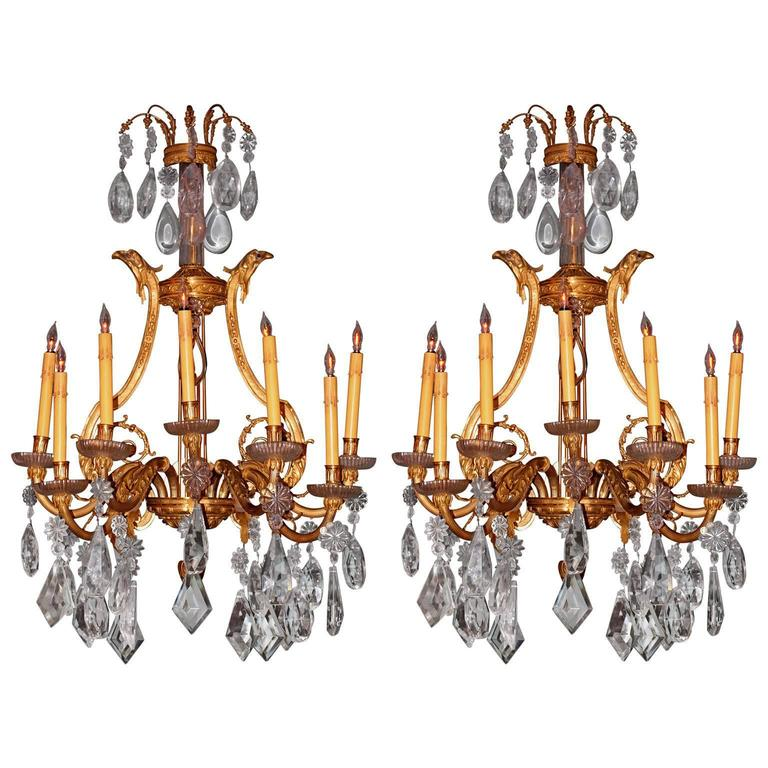 Pair of 19th Century French Dore Bronze Cut Crustal Sconces For Sale