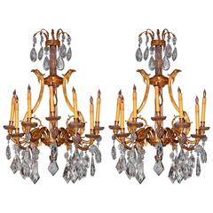 Pair of 19th Century French Dore Bronze Cut Crustal Sconces