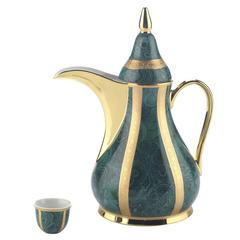 Set of Green Dallah Thermos and 6 Finjan Cups