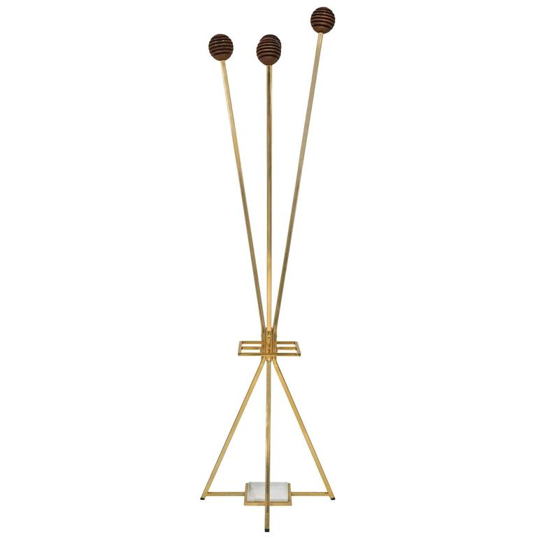 Unusual Brass and Wood Coat Rack/Umbrella Stand, France, circa 1970 1