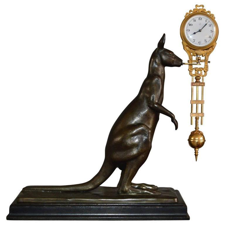 Kangaroo Mantelpiece Clock of Spelter
