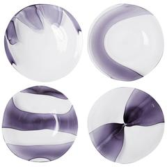 Set of Four Glass Dessert Plates