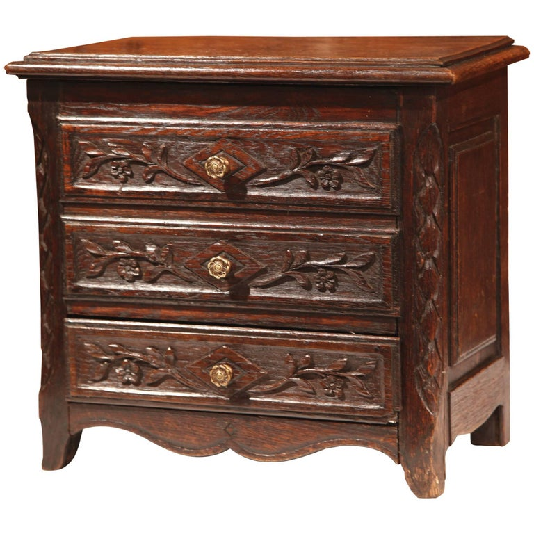 19th Century French Louis XV Carved Oak Miniature Commode from Normandy