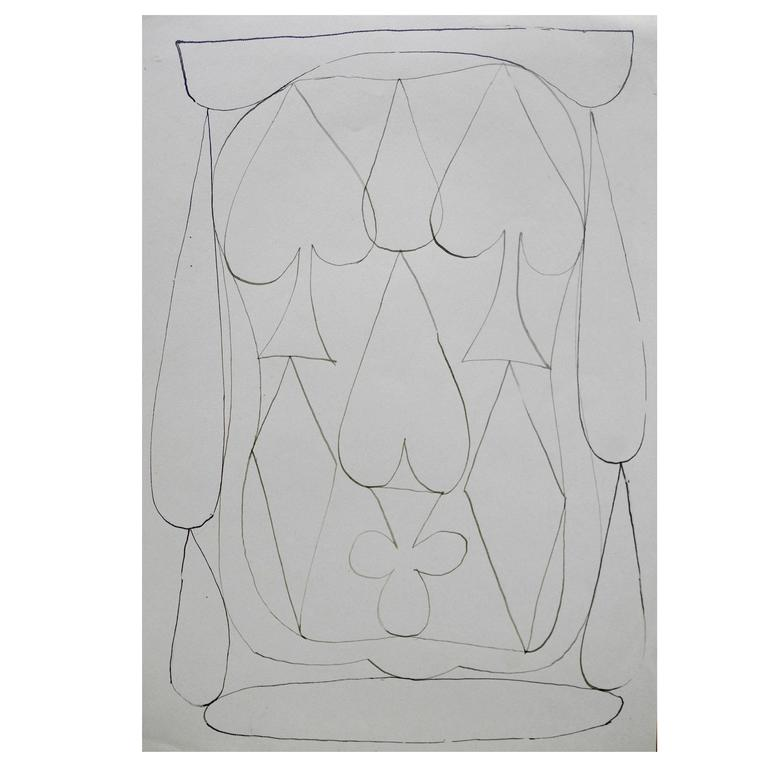 "Set of Four ""Card Suits"" Ink Drawings on Paper by John-Paul Philippe"