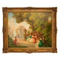 Antique 19th Century Oil on Canvas Signed Painting