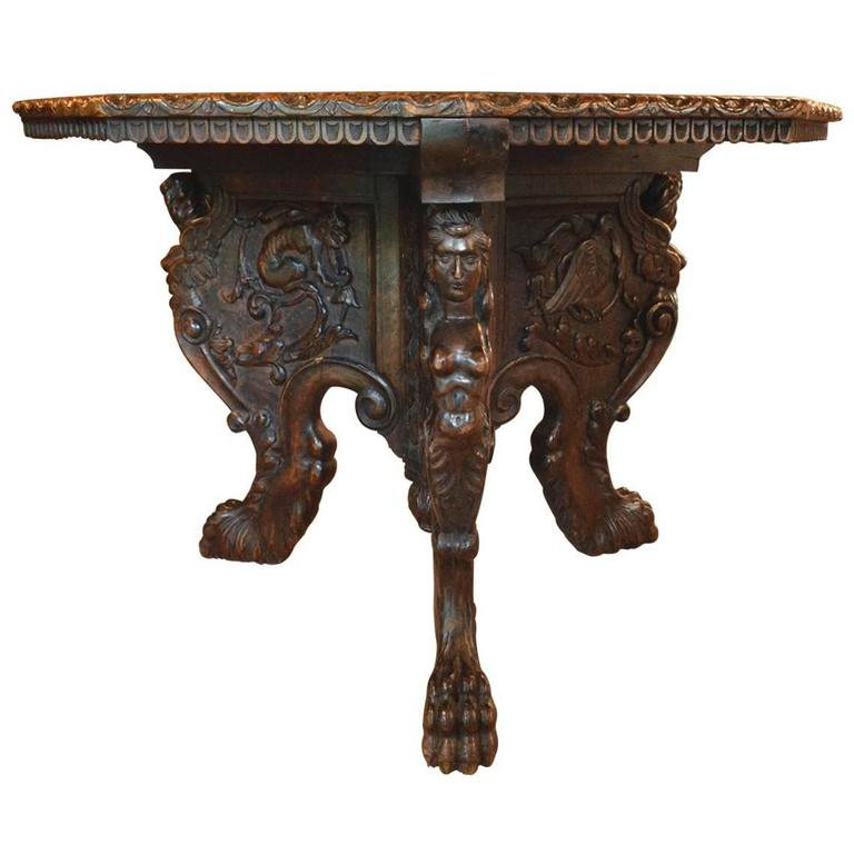 Magnificent Antique Italian Hand Carved Centre Table For Sale