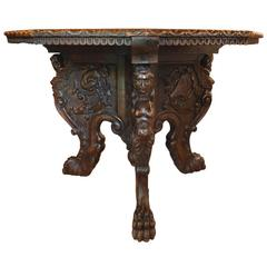 Magnificent Antique Italian Hand-Carved Centre Table