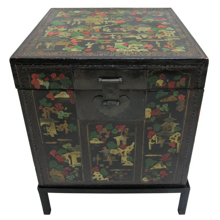 Chinoiserie Antique Painted Box Table 1 - Chinoiserie Antique Painted Box Table For Sale At 1stdibs