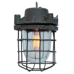 Grey Cast Alumnium Vintage Industrial Clear Glass Factory Lights (2x)