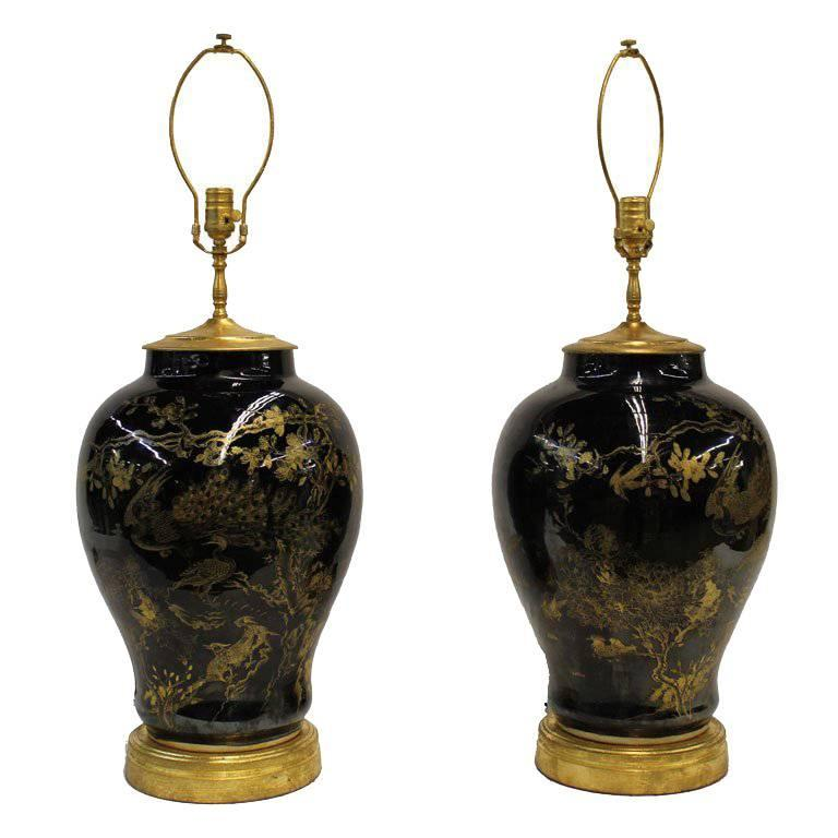 Pair of Large Japanese Baluster Lamps
