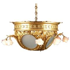 Frosted Glass Dore Bronze Chandelier